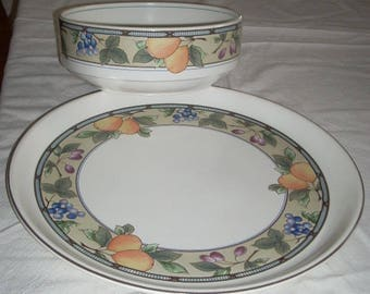 Mikasa Garden Harvest Round Party Platter 14 3/8 and Large Salad Serving Bowl 9""