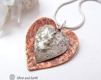 Heart Necklace, Copper Silver Heart Pendant, Mother's Day Jewelry, Handmade Metal Jewelry, Anniversary Gift for Wife, Mother's Day Gift