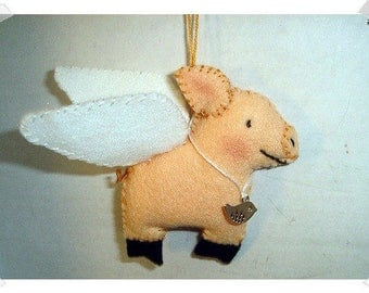 When Pigs Fly Ornament/Felt / Single OR Set of 2/ Handmade/ MADE to Order**