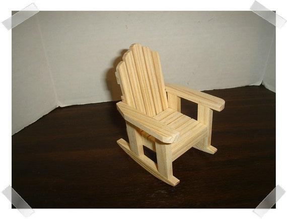 Unfinished wooden adirondack rocking chair miniature craft for Small wooden rocking chair for crafts