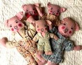 Five Little Piggies Folk Art Soft Dolls Pig Family Flour Sack Clothes Embroidered Faces