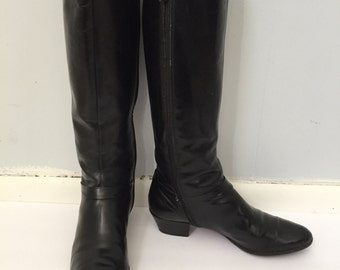 Salvatore Ferragamo Black Leather Knee High Zip Women's Boots Vintage Size 6B