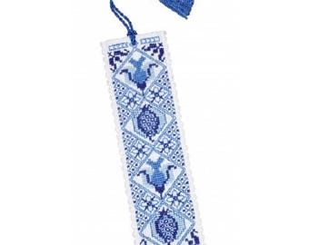 Delft Blue Bookmark Counted Cross Stitch Kit from Textile Heritage, Flower Needlework Kit, cross stitch bookmark, dutch delft style