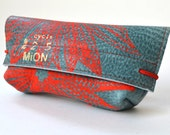 Leather case for pens or glasses (blue leather with neon red print)