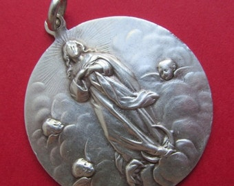 On Sale Virgin Mary With Angels Antique 800 Silver Religious Medal Pendant SS122