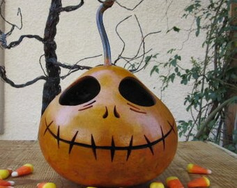 Halloween Gourd Jack Skellington Jack O Lantern Primitive Pumpkin Decoration ( inspired by Tim Burton )