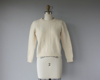 Vintage Cropped Wool Pullover | Cropped Sweater | Cream Wool Sweater | Cable Knit Sweater