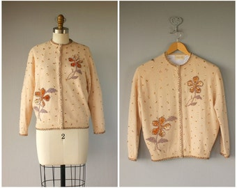 1950s Beaded Cardigan | 50s Beaded Wool Cardigan | Beaded Sweater | 50s Wool Sweater | Holiday Sweater