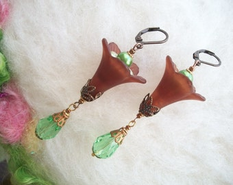 Boho Hippie Flower Earrings, Large Lucite Lily Leave Dangle Earrings, Lily Flower with Glass Beads and Copper