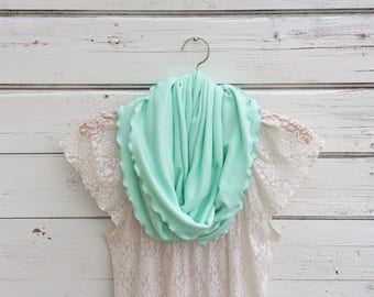 Mint Green Scarf with Ruffles, Mint Infinity Scarf, Circle Scarf, Summer Scarf, Women Scarves, Jersey Scarf, Gift Idea for Her