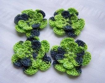 Crochet motif set of 4 flowers 1.5 inch Frankenstein green black