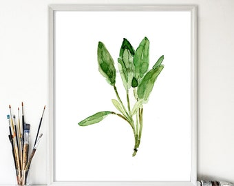 Sage leaves art print, sage watercolor print, herb print, botanical art, kitchen decor, minimalist art, sage green, thejoyofcolor
