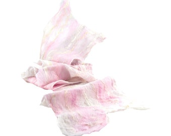 Cobweb Felted Scarf Gift for Her Wool Scarf Winter Scarf Pastel Scarf Womens Scarf Lightweight Scarf Pink Scarf in Pink White Gray OOAK