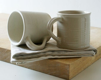 Two straight sided mugs - hand thrown stoneware in simply clay and vanilla cream
