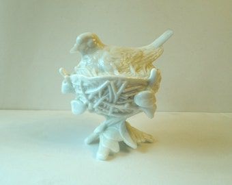 Westmoreland Glass Dove on Nest Candy Dish - White Milk Glass
