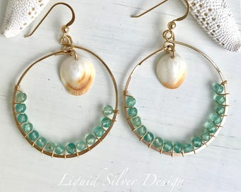14K gold filled hammered hoop earrings Hawaiian shell APATITE stone. Made in Hawaii USA. Gift for bff gf mother bride bridesmaid wedding