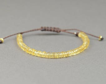 Citrine bracelet . Adjustable bracelet