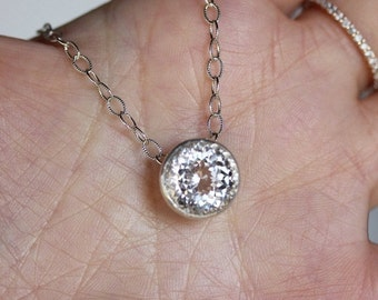 Holidays Sale - White Topaz Sterling Silver Necklace, Pendant, Birthstone, Halo Necklace, Portuguese Cut - Made To Order