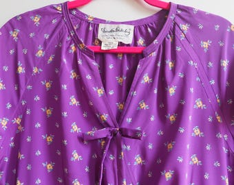 Diane Von Furstenberg DVF 1970s 1980s Purple Floral Short Sleeve Faux Wrap Dress with Pockets