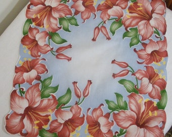 Vintage Blue with Rose Pink Lilies Hanky