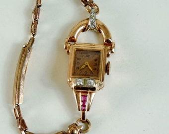 1940 Vintage 14K Rose Gold Estate Diamond Ruby Retro Ladies Watch Elegant