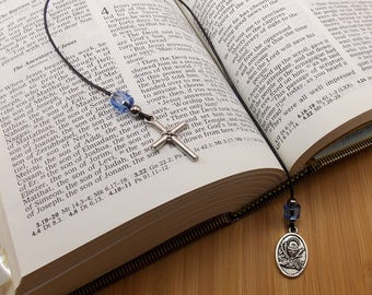 First Communion Bookmark - Beaded - Cord - Book Thong - Black String with Medium Blue Beads