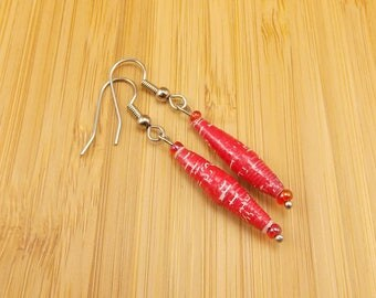 Long Paper Bead Earrings - Rwandan Paper Beads - Red with Bits of White