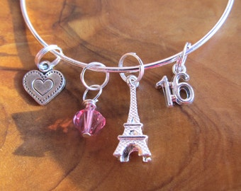 Sweet 16 - PARIS THEMED- Adjustable Bracelet - Great Party Favor - Eiffel Tower, #16  and Heart - Choose any crystal color- Court