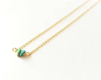 Turquoise Bead Necklace, Genuine Turquoise, Layering Necklace, Gold Necklace, Short Necklace, Gifts for Her, Tiny Turquoise Bead Necklace