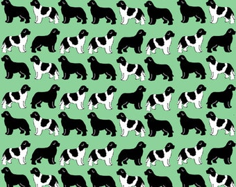 Green Newfoundland Dog Fabric