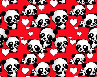 Pandas and Valentines fabric