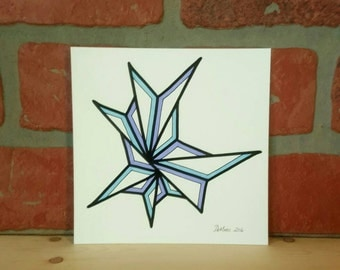 5 X 5 Original freehand drawing - marker on watercolor paper - modern abstract art - NOT a print - minimalist home decor-  blue & lavender