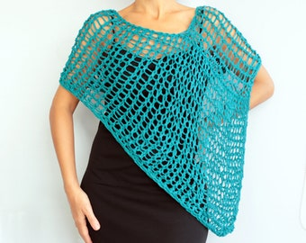 Dark Teal Poncho Cape, Loose Knit %100 Cotton Natural Antibacterial, Summer Shoulder Wrap Cover Spring Women Top Wear Fashion Gift Her