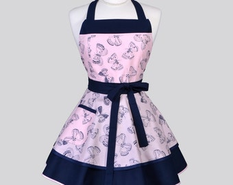 Ruffled Retro Womens Apron / Butterflies in Navy on Pink Blush is a Fun Pin Up Vintage Style Kitchen Apron Personalize or Monogram