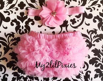 Pink Baby BLOOMER and HEADBAND Set- diaper cover , bloomers , ruffle bloomer , newborn bloomer , baby shower gift , cake smash