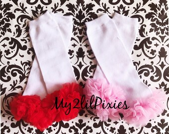White LEG WARMERS with ruffle , baby girl leg warmers, girls leg warmers, chiffon ruffle leg warmers, all white leg warmers . Ready to ship