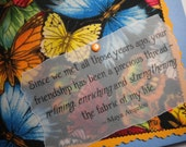 FRIENDSHIP'S THREAD ~ Fabric greeting card with quote by Maya Angelou