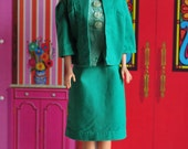 vintage handmade Barbie emerald green suit with asian silk look blouse