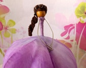 ON SALE Lilac Peony Fairy Poseable Doll, Brunette Fairy, Fairy Tree Decoration, Gift Topper, Tree Ornament, Faerie Doll, AA Fairy, Waldorf D