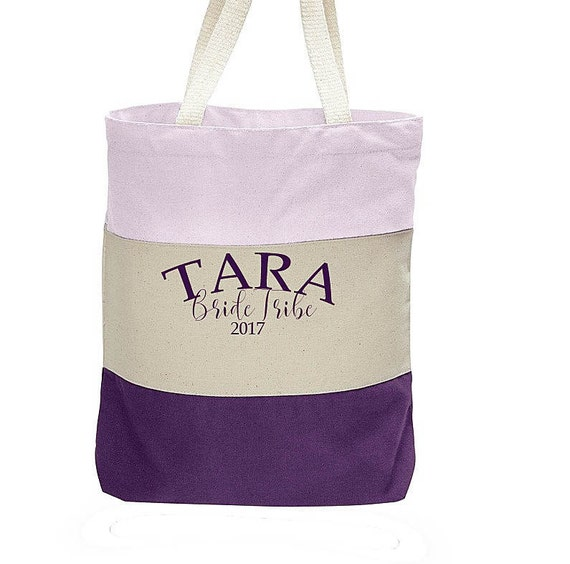 Bridesmaid Bride Tribe Bags, Personalized Bridesmaid Totebag, Gift for Bridesmaid, Colorblock Canvas Totebag, Canvas Bag Personalized