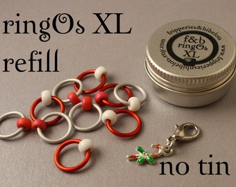 ringOs XL REFILL - Candy Canes - Snag-Free Ring Stitch Markers for Knitting
