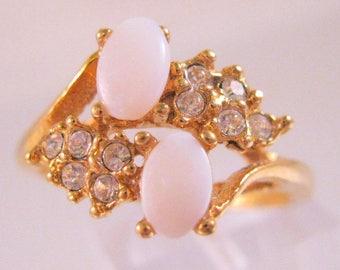 Vintage Uncas 14K GE Genuine White Opal & Crystal Ring Size 10 Estate Jewelry Vintage Jewelry