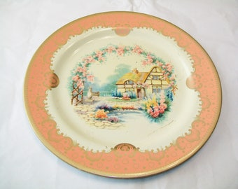 Vintage Cottage Baret Ware Plate, Metal, Made in England, peach and beige