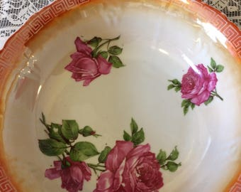 Anitque Cabbage Roses Germany Signed Porcelain  Serving Collectible Bowl Dish