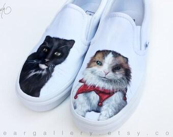 Custom Vans Shoes - Cat Portraits Hand Painted