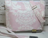 Camera Bag & neck strap SET, Ballet Pink damask and grey waterproof,  Made in the USA- Darby Mack lightweight, washable  cross body in stock