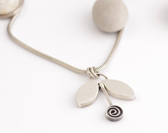 Moveable Parts Silver Spiral Necklace