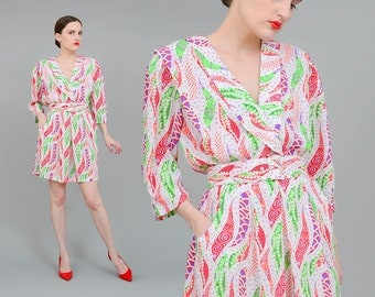 80s Mini Dress, Abstract Print Dress, Plunging Neckline, 80s Secretary Dress, Belted Dress, Christmas Holiday Dress White Green Red M L