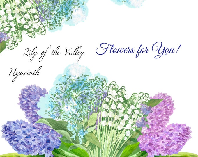 Spring flowers. Watercolor clip art, clipart, hyacinth, narcissus, lily of the valley, flower, bouquet, spring, garden, Mothers day,