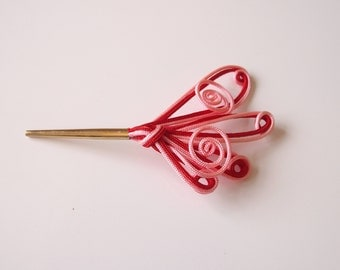 Kanzashi Small Hair Accessory Pink Red Design